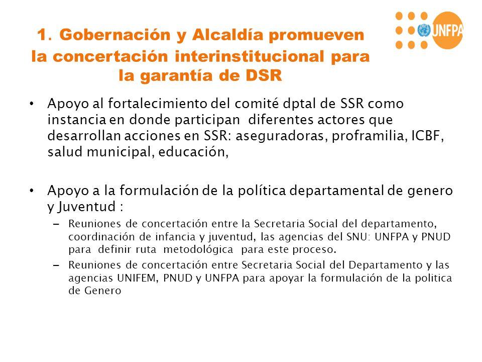 1. Gobernación y Alcaldía promueven la concertación interinstitucional para la garantía de DSR Apoyo al fortalecimiento del comité dptal de SSR como i