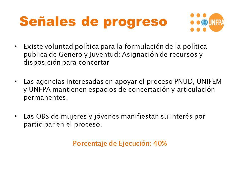 Señales de progreso Existe voluntad política para la formulación de la política publica de Genero y Juventud: Asignación de recursos y disposición par