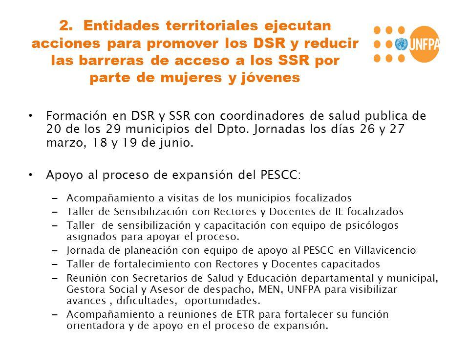 2. Entidades territoriales ejecutan acciones para promover los DSR y reducir las barreras de acceso a los SSR por parte de mujeres y jóvenes Formación