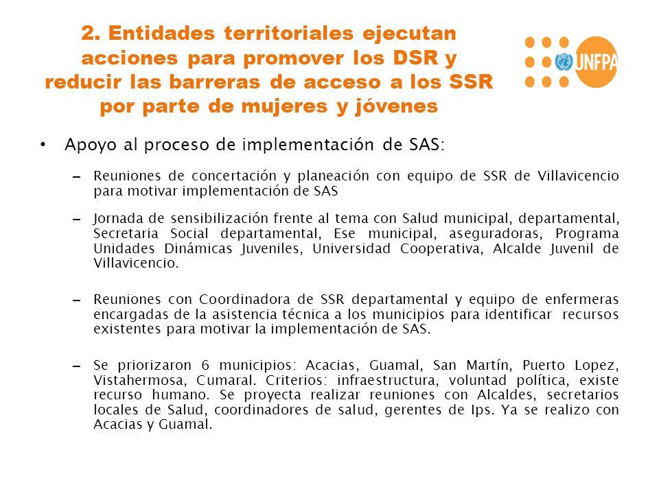 2. Entidades territoriales ejecutan acciones para promover los DSR y reducir las barreras de acceso a los SSR por parte de mujeres y jóvenes Apoyo al