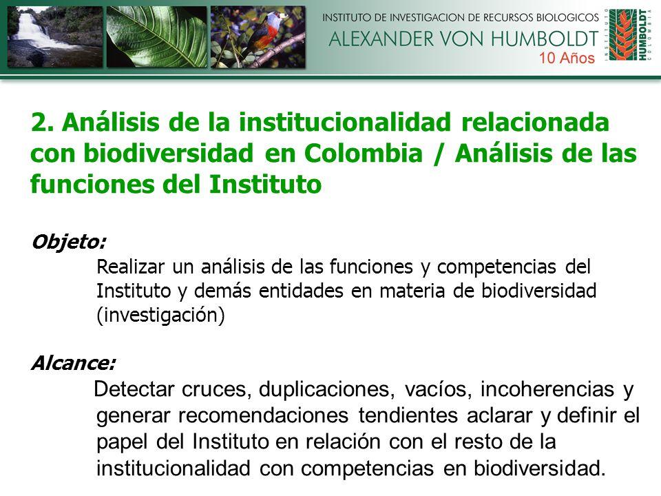 2. Análisis de la institucionalidad relacionada con biodiversidad en Colombia / Análisis de las funciones del Instituto Objeto: Realizar un análisis d