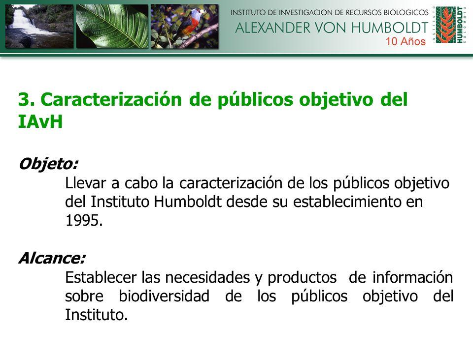 3. Caracterización de públicos objetivo del IAvH Objeto: Llevar a cabo la caracterización de los públicos objetivo del Instituto Humboldt desde su est