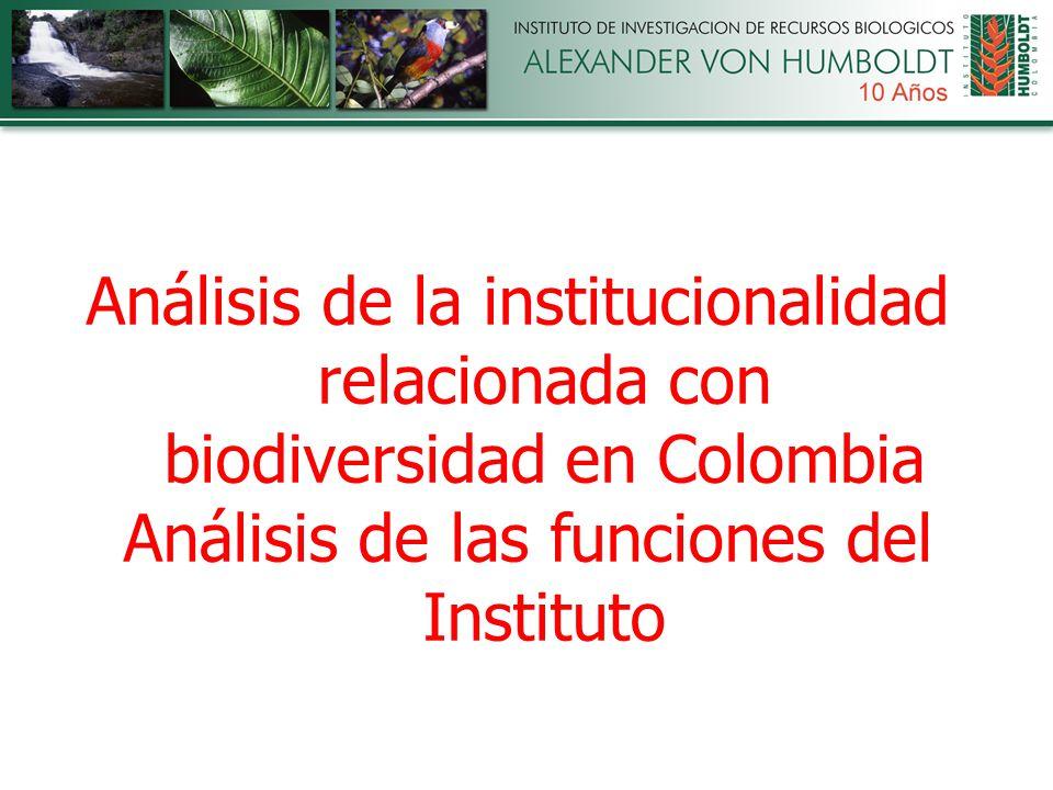 Análisis de la institucionalidad relacionada con biodiversidad en Colombia Análisis de las funciones del Instituto