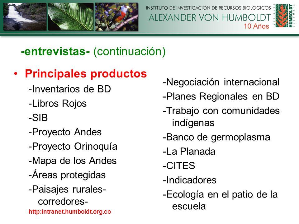 -entrevistas- (continuación) Principales productos -Inventarios de BD -Libros Rojos -SIB -Proyecto Andes -Proyecto Orinoquía -Mapa de los Andes -Áreas protegidas -Paisajes rurales- corredores- http:intranet.humboldt.org.co -Negociación internacional -Planes Regionales en BD -Trabajo con comunidades indígenas -Banco de germoplasma -La Planada -CITES -Indicadores -Ecología en el patio de la escuela