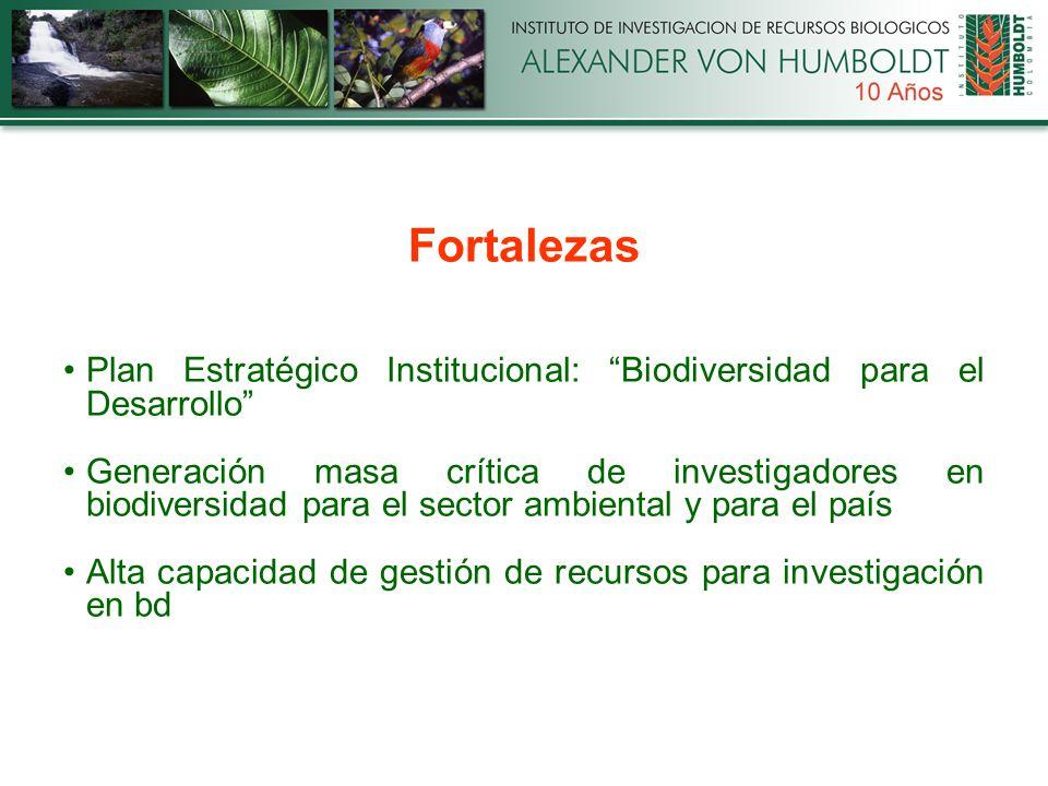 Fortalezas Plan Estratégico Institucional: Biodiversidad para el Desarrollo Generación masa crítica de investigadores en biodiversidad para el sector ambiental y para el país Alta capacidad de gestión de recursos para investigación en bd