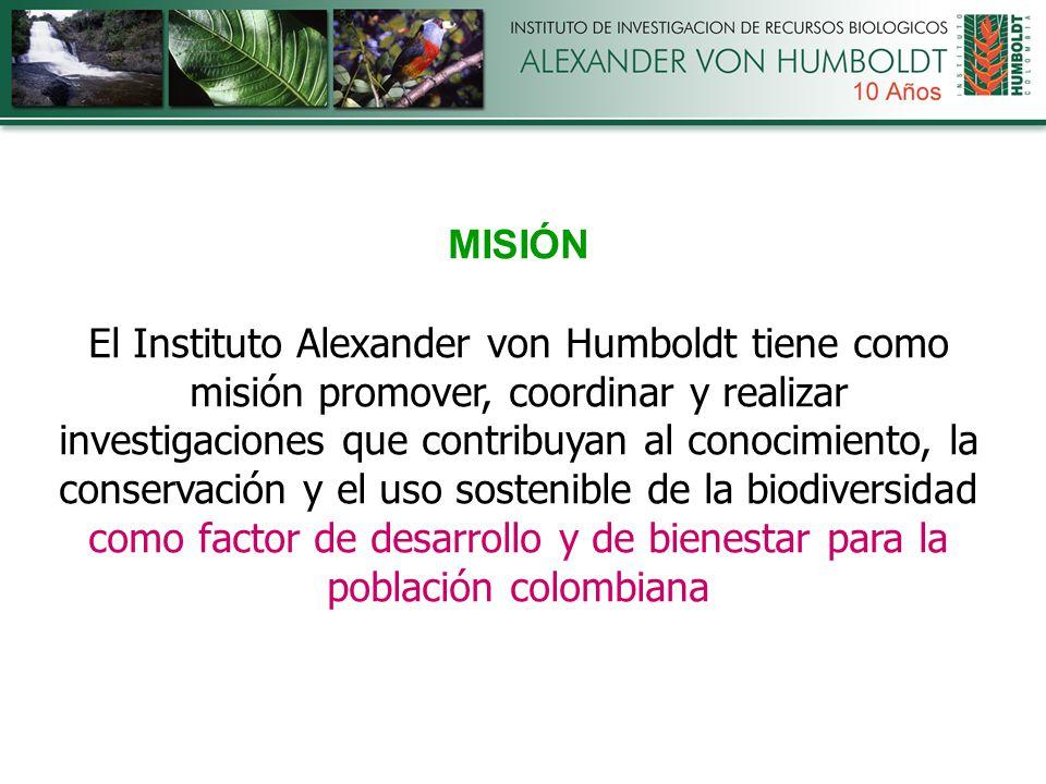MISIÓN El Instituto Alexander von Humboldt tiene como misión promover, coordinar y realizar investigaciones que contribuyan al conocimiento, la conservación y el uso sostenible de la biodiversidad como factor de desarrollo y de bienestar para la población colombiana