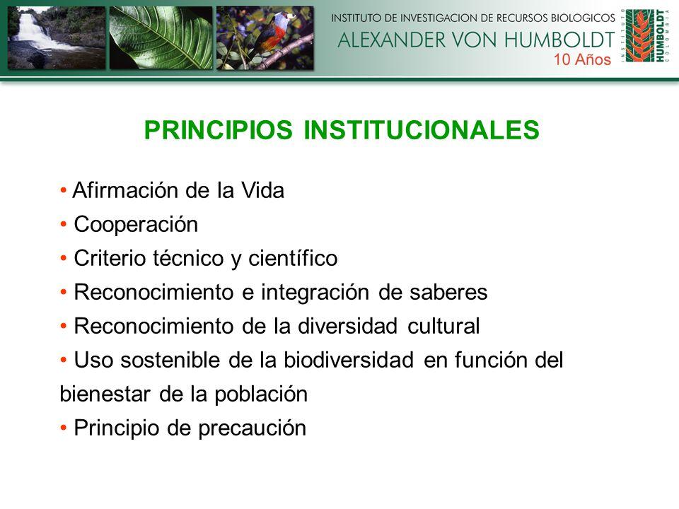 PRINCIPIOS INSTITUCIONALES Afirmación de la Vida Cooperación Criterio técnico y científico Reconocimiento e integración de saberes Reconocimiento de la diversidad cultural Uso sostenible de la biodiversidad en función del bienestar de la población Principio de precaución