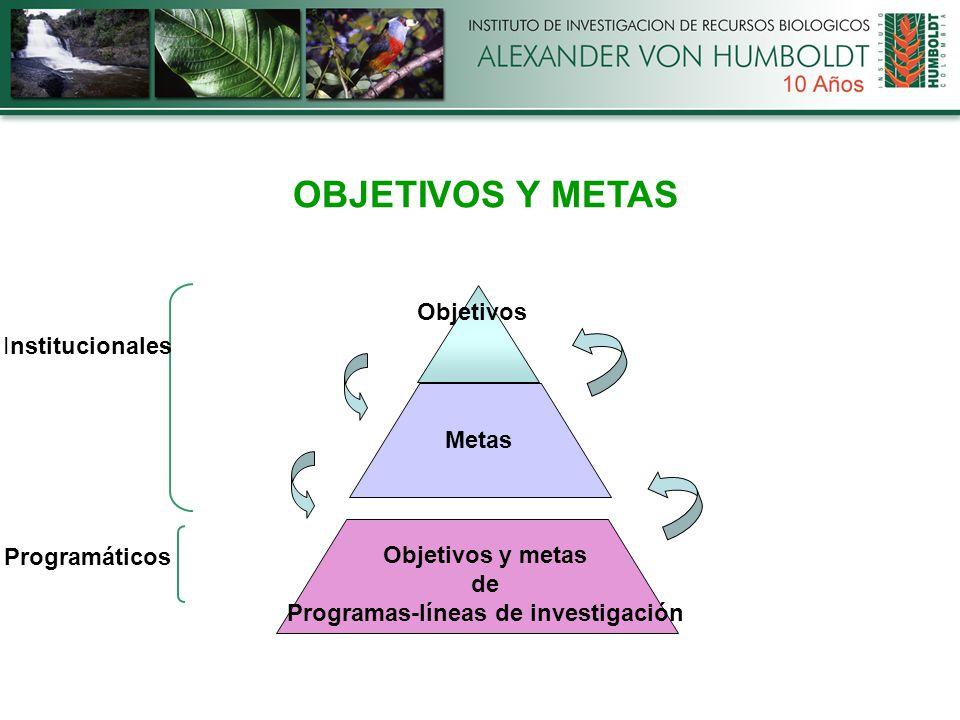 Objetivos Metas Objetivos y metas de Programas-líneas de investigación OBJETIVOS Y METAS Institucionales Programáticos