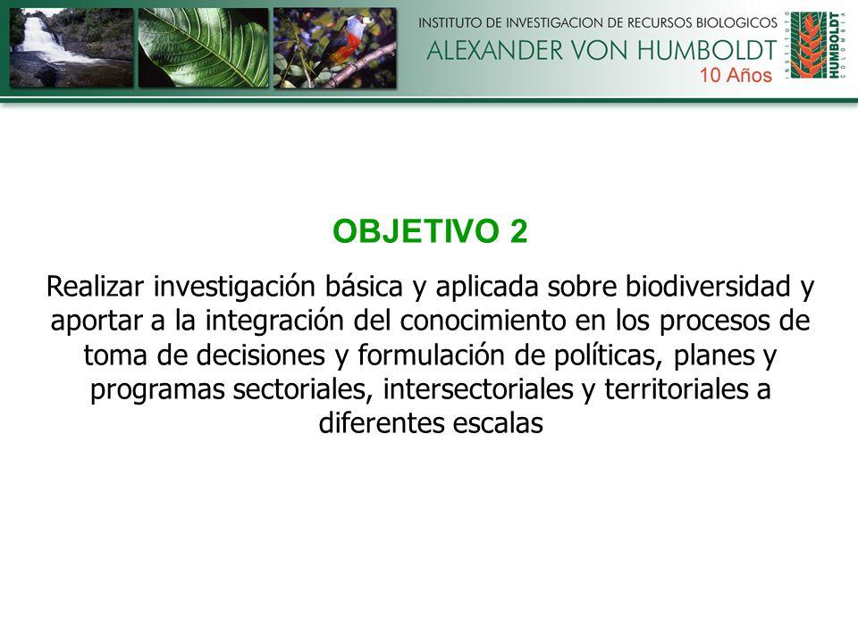 OBJETIVO 2 Realizar investigación básica y aplicada sobre biodiversidad y aportar a la integración del conocimiento en los procesos de toma de decisiones y formulación de políticas, planes y programas sectoriales, intersectoriales y territoriales a diferentes escalas