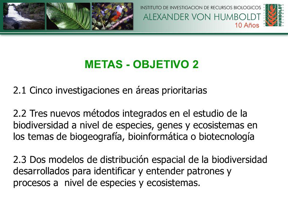 METAS - OBJETIVO 2 2.1 Cinco investigaciones en áreas prioritarias 2.2 Tres nuevos métodos integrados en el estudio de la biodiversidad a nivel de especies, genes y ecosistemas en los temas de biogeografía, bioinformática o biotecnología 2.3 Dos modelos de distribución espacial de la biodiversidad desarrollados para identificar y entender patrones y procesos a nivel de especies y ecosistemas.