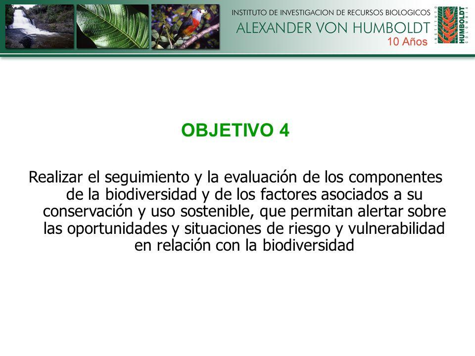 OBJETIVO 4 Realizar el seguimiento y la evaluación de los componentes de la biodiversidad y de los factores asociados a su conservación y uso sostenible, que permitan alertar sobre las oportunidades y situaciones de riesgo y vulnerabilidad en relación con la biodiversidad