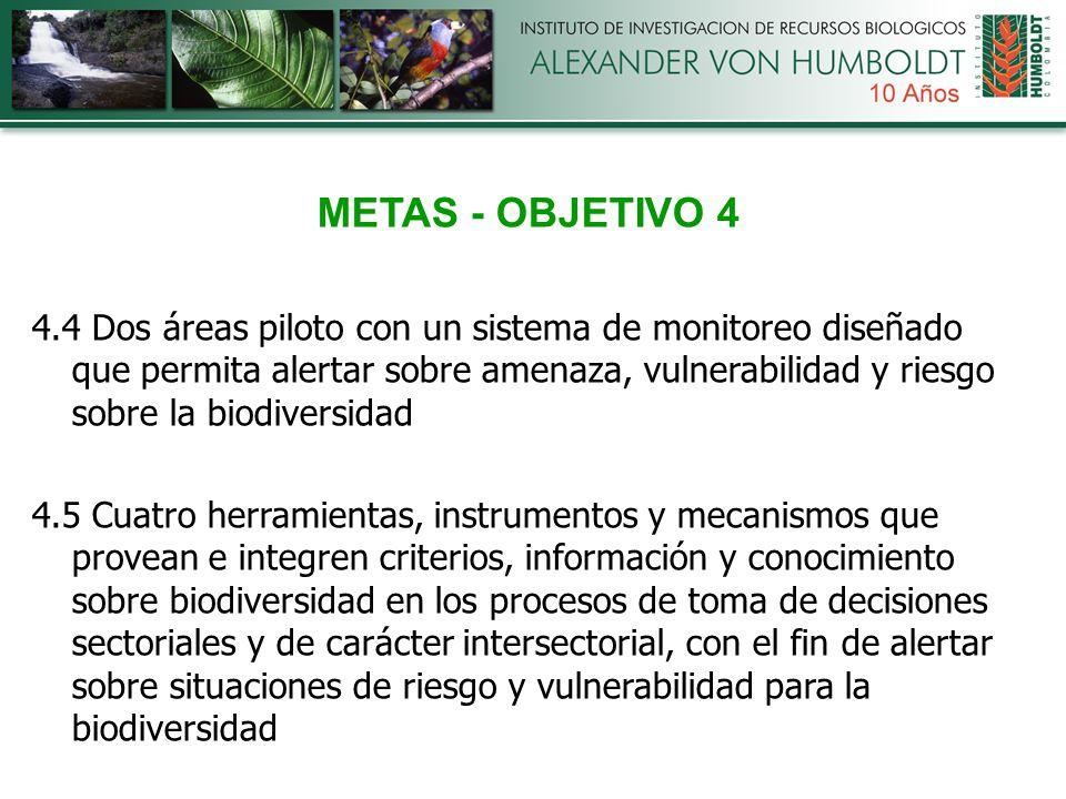 METAS - OBJETIVO 4 4.4 Dos áreas piloto con un sistema de monitoreo diseñado que permita alertar sobre amenaza, vulnerabilidad y riesgo sobre la biodiversidad 4.5 Cuatro herramientas, instrumentos y mecanismos que provean e integren criterios, información y conocimiento sobre biodiversidad en los procesos de toma de decisiones sectoriales y de carácter intersectorial, con el fin de alertar sobre situaciones de riesgo y vulnerabilidad para la biodiversidad