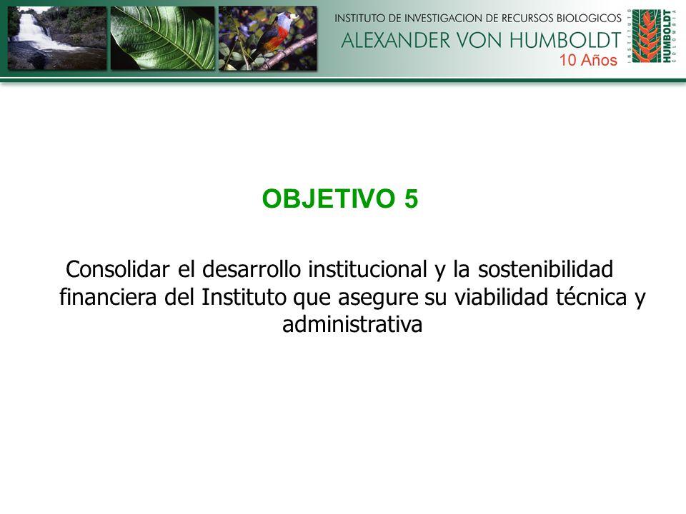 OBJETIVO 5 Consolidar el desarrollo institucional y la sostenibilidad financiera del Instituto que asegure su viabilidad técnica y administrativa