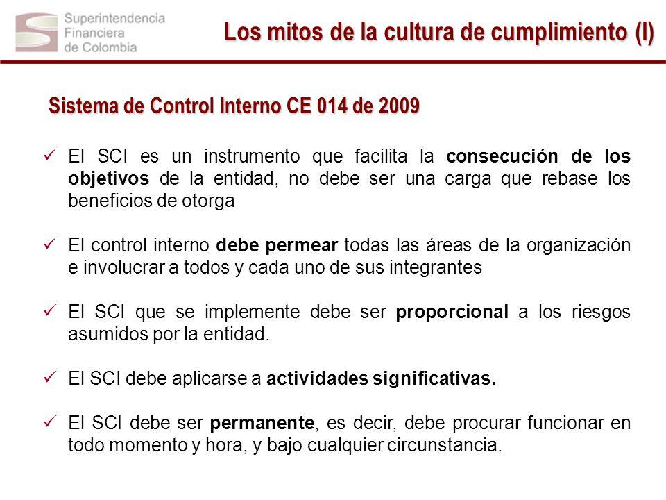 -1.5 1.5 1 -1.5 1.5 Sistema de Control Interno CE 014 de 2009 El SCI es un instrumento que facilita la consecución de los objetivos de la entidad, no debe ser una carga que rebase los beneficios de otorga El control interno debe permear todas las áreas de la organización e involucrar a todos y cada uno de sus integrantes El SCI que se implemente debe ser proporcional a los riesgos asumidos por la entidad.
