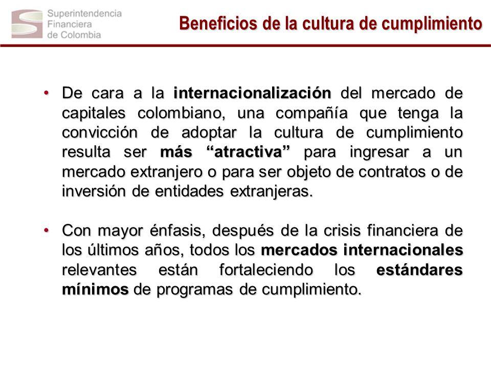 Beneficios de la cultura de cumplimiento -1.5 1.5 1 -1.5 1.5 De cara a la internacionalización del mercado de capitales colombiano, una compañía que tenga la convicción de adoptar la cultura de cumplimiento resulta ser más atractiva para ingresar a un mercado extranjero o para ser objeto de contratos o de inversión de entidades extranjeras.De cara a la internacionalización del mercado de capitales colombiano, una compañía que tenga la convicción de adoptar la cultura de cumplimiento resulta ser más atractiva para ingresar a un mercado extranjero o para ser objeto de contratos o de inversión de entidades extranjeras.