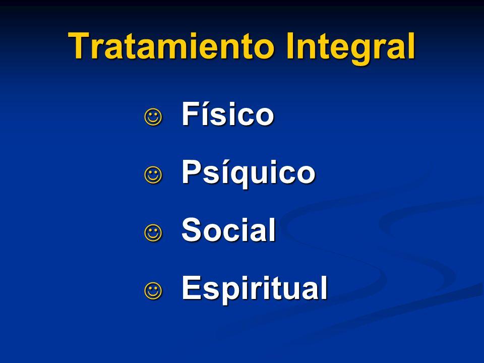 Tratamiento Integral Físico Físico Psíquico Psíquico Social Social Espiritual Espiritual