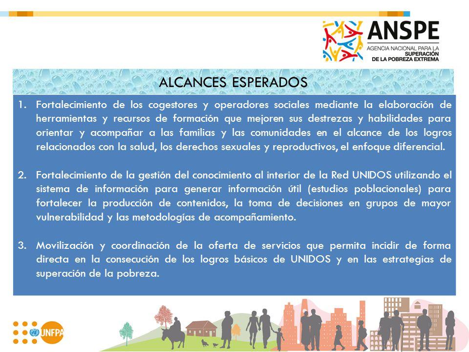 ALCANCES ESPERADOS 1.Fortalecimiento de los cogestores y operadores sociales mediante la elaboración de herramientas y recursos de formación que mejor