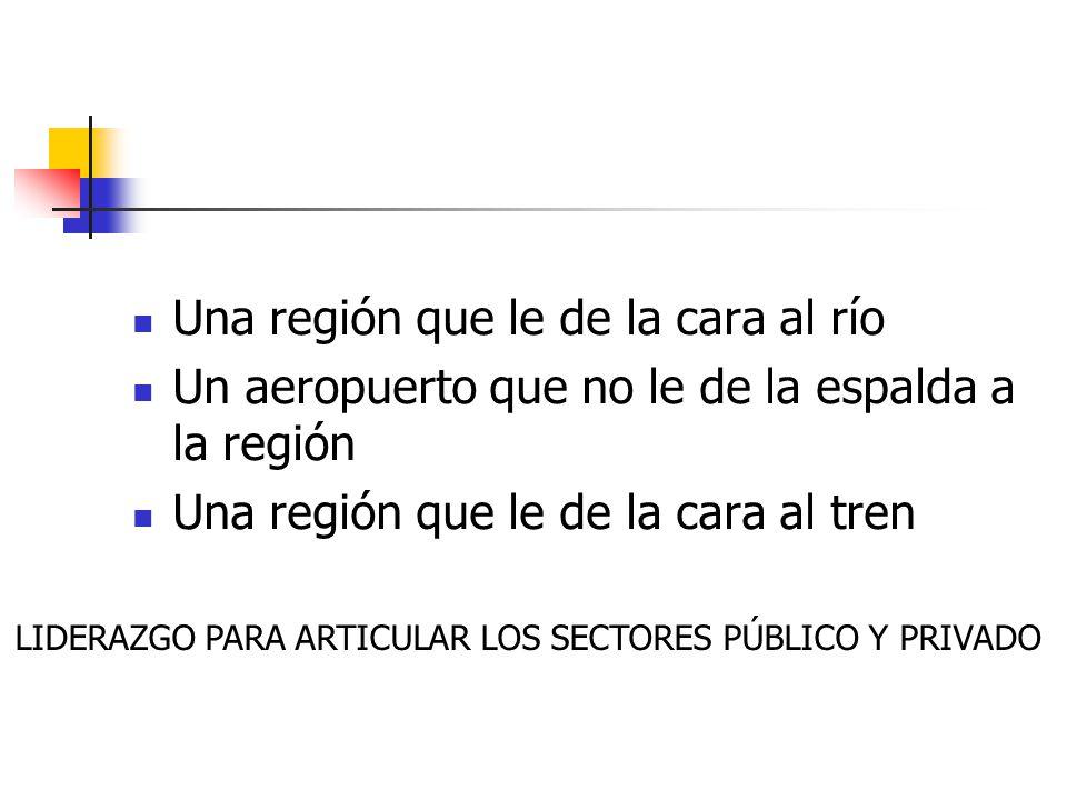 Una región que le de la cara al río Un aeropuerto que no le de la espalda a la región Una región que le de la cara al tren LIDERAZGO PARA ARTICULAR LO