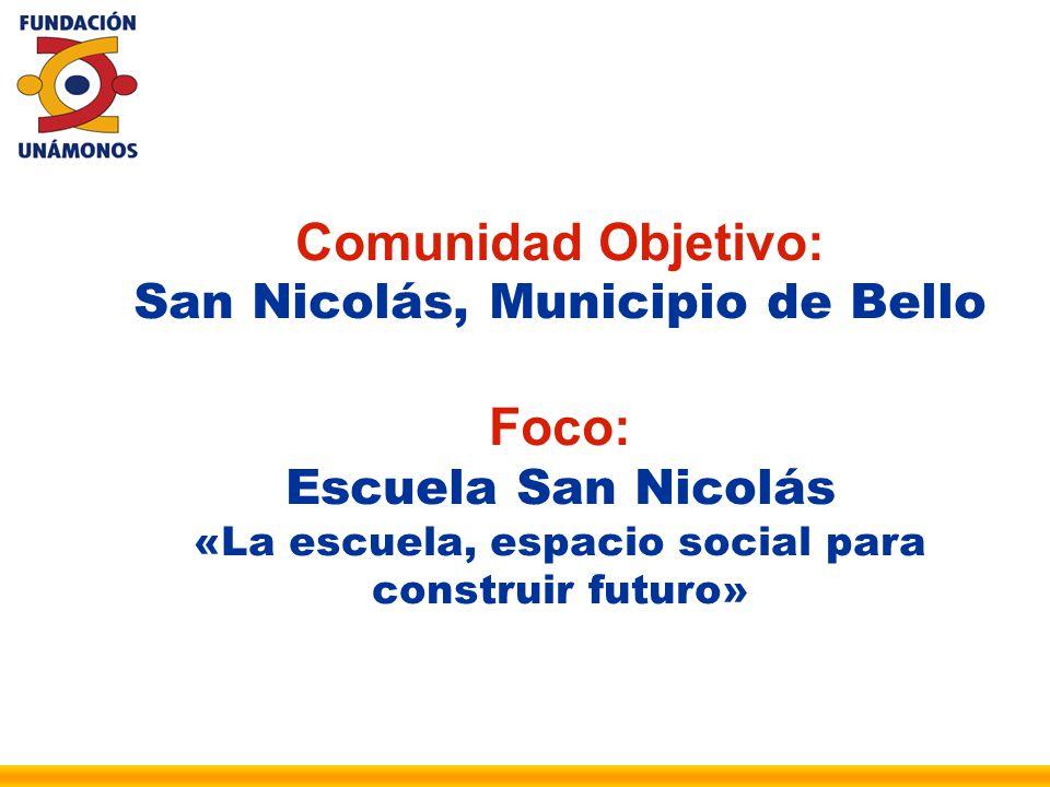 Comunidad Objetivo: San Nicolás, Municipio de Bello Foco: Escuela San Nicolás «La escuela, espacio social para construir futuro»
