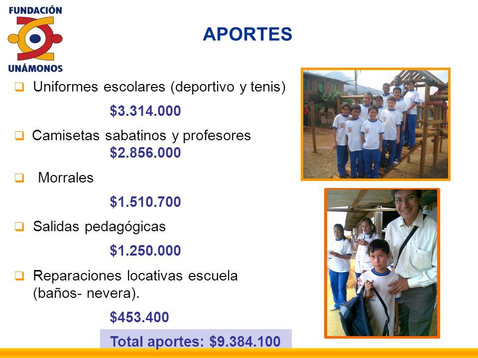 APORTES Uniformes escolares (deportivo y tenis) $3.314.000 Camisetas sabatinos y profesores $2.856.000 Morrales $1.510.700 Salidas pedagógicas $1.250.