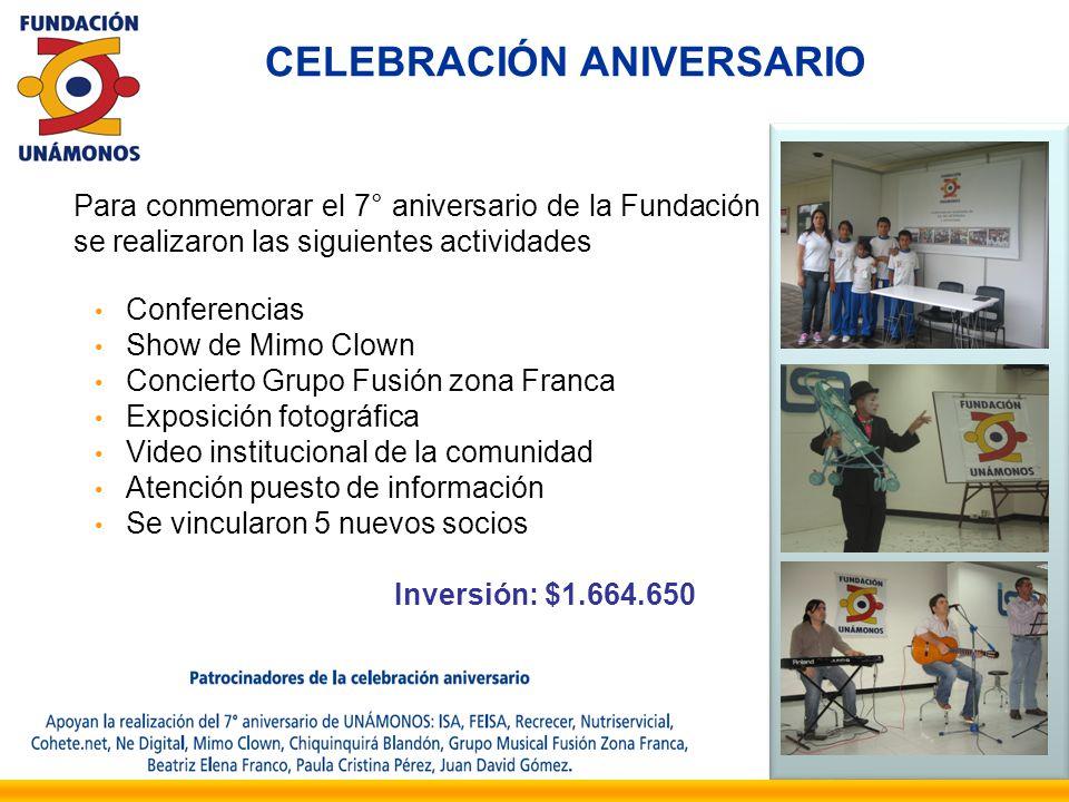 Para conmemorar el 7° aniversario de la Fundación se realizaron las siguientes actividades Conferencias Show de Mimo Clown Concierto Grupo Fusión zona