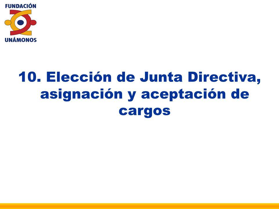 10. Elección de Junta Directiva, asignación y aceptación de cargos