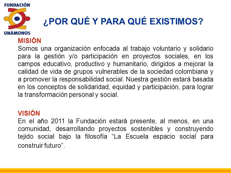 MISIÓN Somos una organización enfocada al trabajo voluntario y solidario para la gestión y/o participación en proyectos sociales, en los campos educat