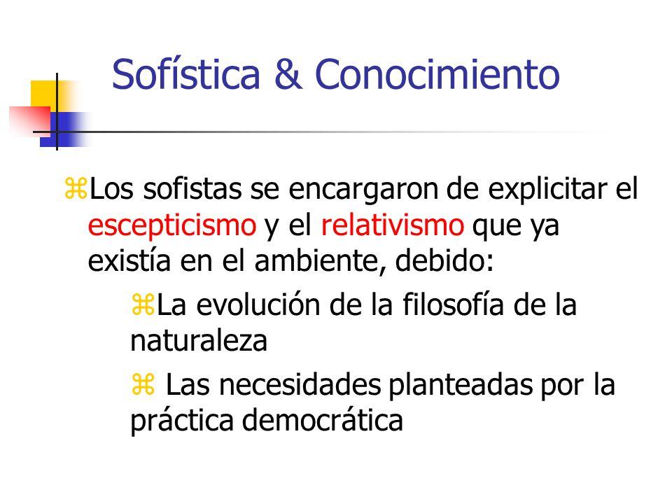Sofística & Conocimiento Los sofistas se encargaron de explicitar el escepticismo y el relativismo que ya existía en el ambiente, debido: La evolución de la filosofía de la naturaleza Las necesidades planteadas por la práctica democrática