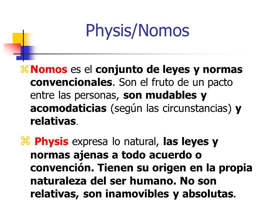 Physis/Nomos Nomos es el conjunto de leyes y normas convencionales. Son el fruto de un pacto entre las personas, son mudables y acomodaticias (según l