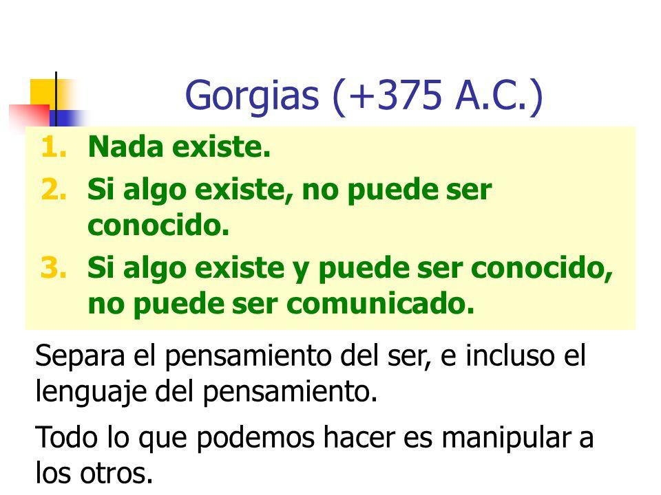 Gorgias (+375 A.C.) 1.Nada existe. 2.Si algo existe, no puede ser conocido. 3.Si algo existe y puede ser conocido, no puede ser comunicado. Separa el