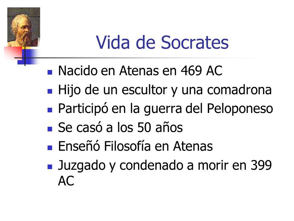Vida de Socrates Nacido en Atenas en 469 AC Hijo de un escultor y una comadrona Participó en la guerra del Peloponeso Se casó a los 50 años Enseñó Filosofía en Atenas Juzgado y condenado a morir en 399 AC