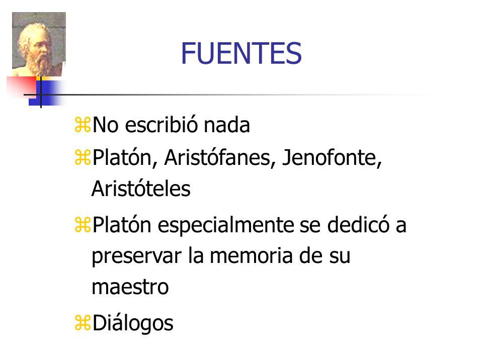 FUENTES No escribió nada Platón, Aristófanes, Jenofonte, Aristóteles Platón especialmente se dedicó a preservar la memoria de su maestro Diálogos
