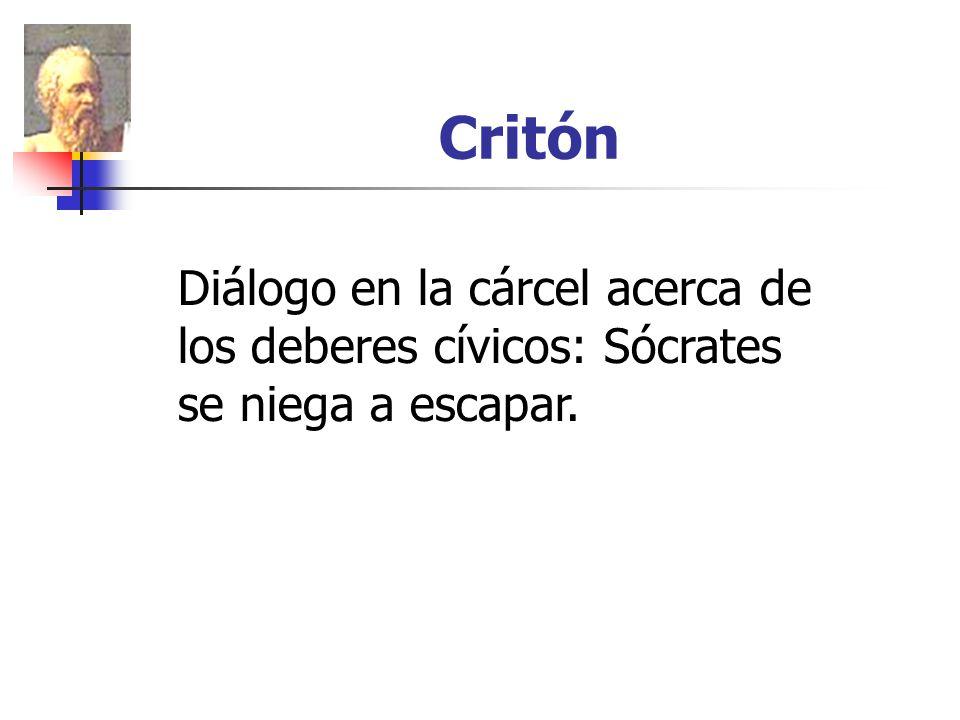 Critón Diálogo en la cárcel acerca de los deberes cívicos: Sócrates se niega a escapar.