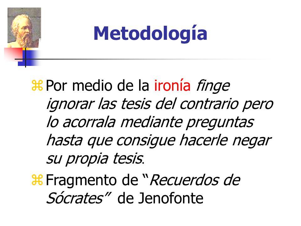 Metodología Por medio de la ironía finge ignorar las tesis del contrario pero lo acorrala mediante preguntas hasta que consigue hacerle negar su propia tesis.