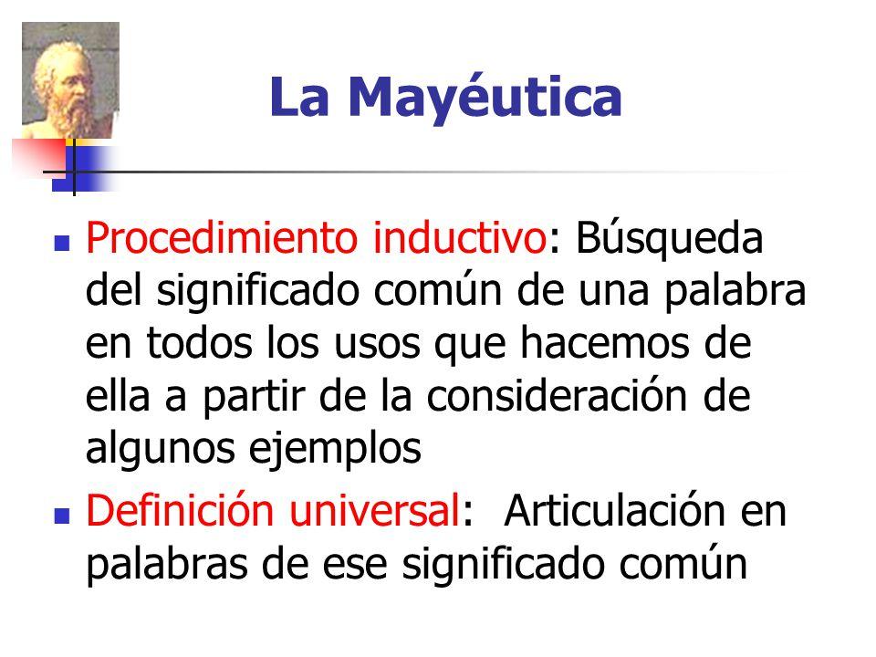 La Mayéutica Procedimiento inductivo: Búsqueda del significado común de una palabra en todos los usos que hacemos de ella a partir de la consideración de algunos ejemplos Definición universal: Articulación en palabras de ese significado común