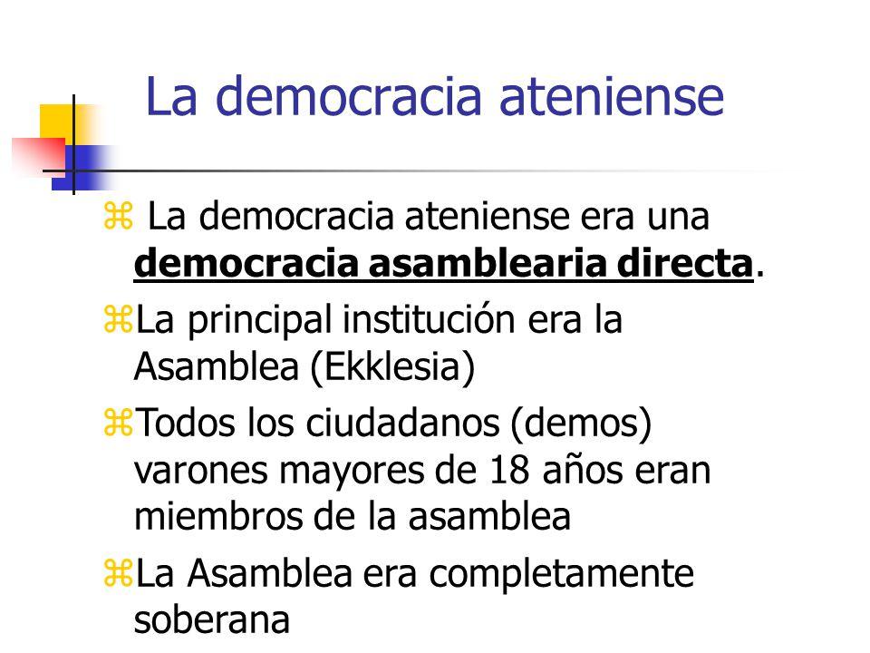 La democracia ateniense La democracia ateniense era una democracia asamblearia directa. La principal institución era la Asamblea (Ekklesia) Todos los