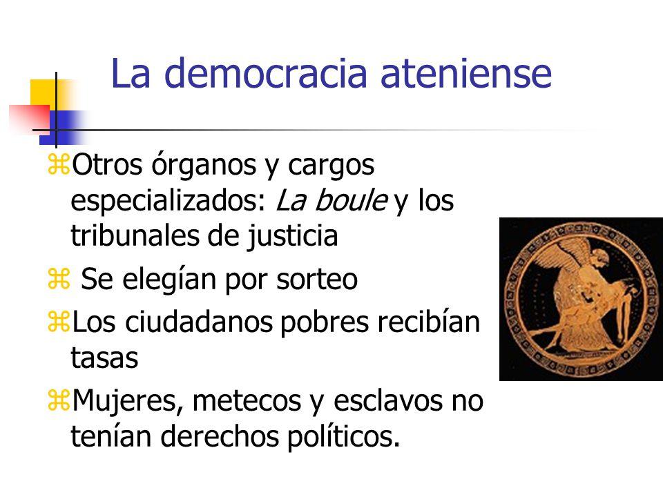 La democracia ateniense Otros órganos y cargos especializados: La boule y los tribunales de justicia Se elegían por sorteo Los ciudadanos pobres recibían tasas Mujeres, metecos y esclavos no tenían derechos políticos.