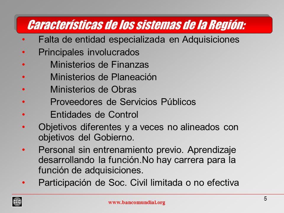 16 Multiples ONGs en el sector Instrumentos: –Legal –Información –Conocimiento Acuerdo sobre necesidades particulares de Información Colaboración en control Sociedad Civil www.bancomundial.org