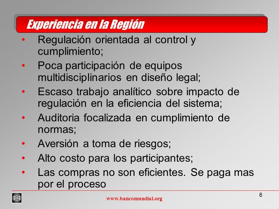 6 Regulación orientada al control y cumplimiento; Poca participación de equipos multidisciplinarios en diseño legal; Escaso trabajo analítico sobre impacto de regulación en la eficiencia del sistema; Auditoria focalizada en cumplimiento de normas; Aversión a toma de riesgos; Alto costo para los participantes; Las compras no son eficientes.