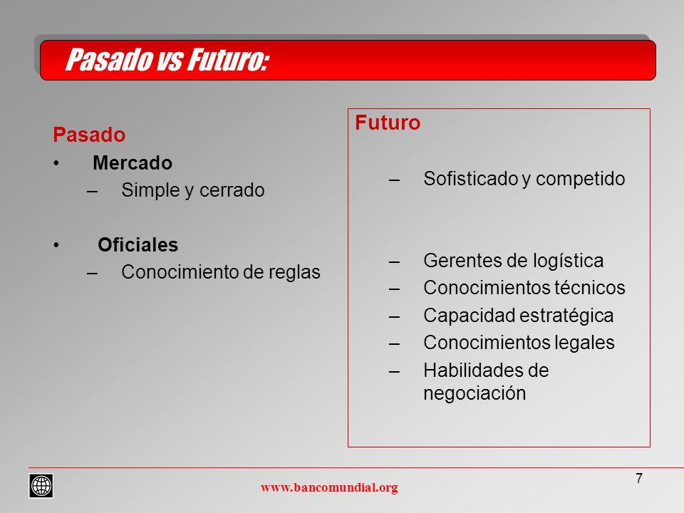 7 Pasado Mercado –Simple y cerrado Oficiales –Conocimiento de reglas Pasado vs Futuro: www.bancomundial.org Futuro –Sofisticado y competido –Gerentes de logística –Conocimientos técnicos –Capacidad estratégica –Conocimientos legales –Habilidades de negociación