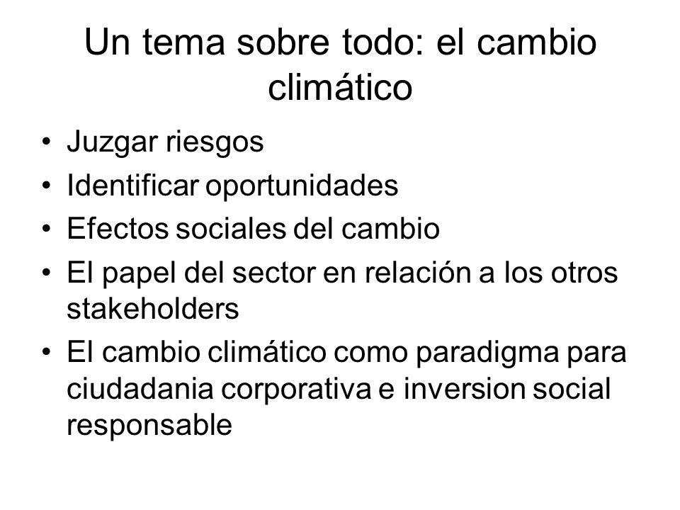 Un tema sobre todo: el cambio climático Juzgar riesgos Identificar oportunidades Efectos sociales del cambio El papel del sector en relación a los otros stakeholders El cambio climático como paradigma para ciudadania corporativa e inversion social responsable