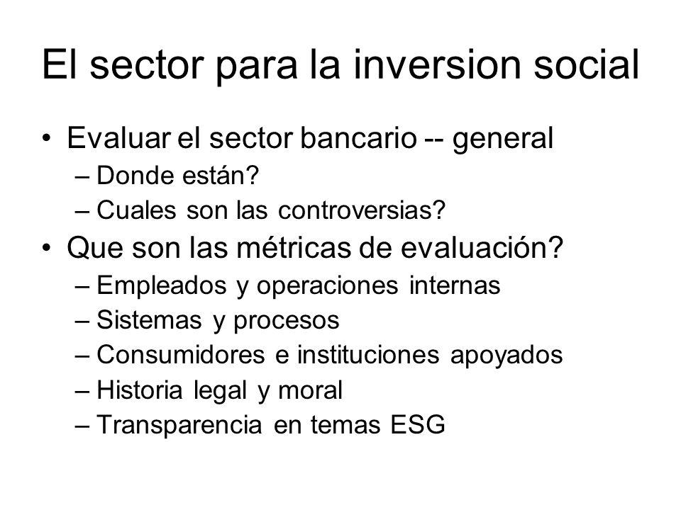 El sector para la inversion social Evaluar el sector bancario -- general –Donde están.