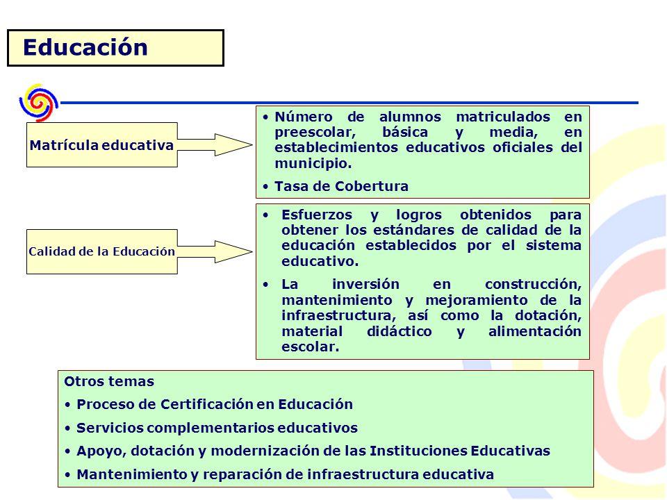 Educación Número de alumnos matriculados en preescolar, básica y media, en establecimientos educativos oficiales del municipio.