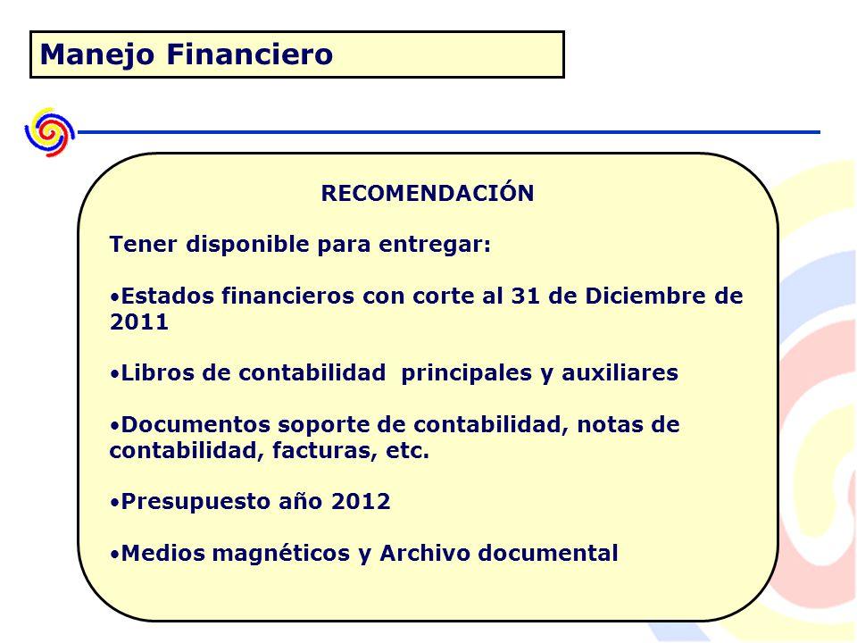 Manejo Financiero RECOMENDACIÓN Tener disponible para entregar: Estados financieros con corte al 31 de Diciembre de 2011 Libros de contabilidad principales y auxiliares Documentos soporte de contabilidad, notas de contabilidad, facturas, etc.