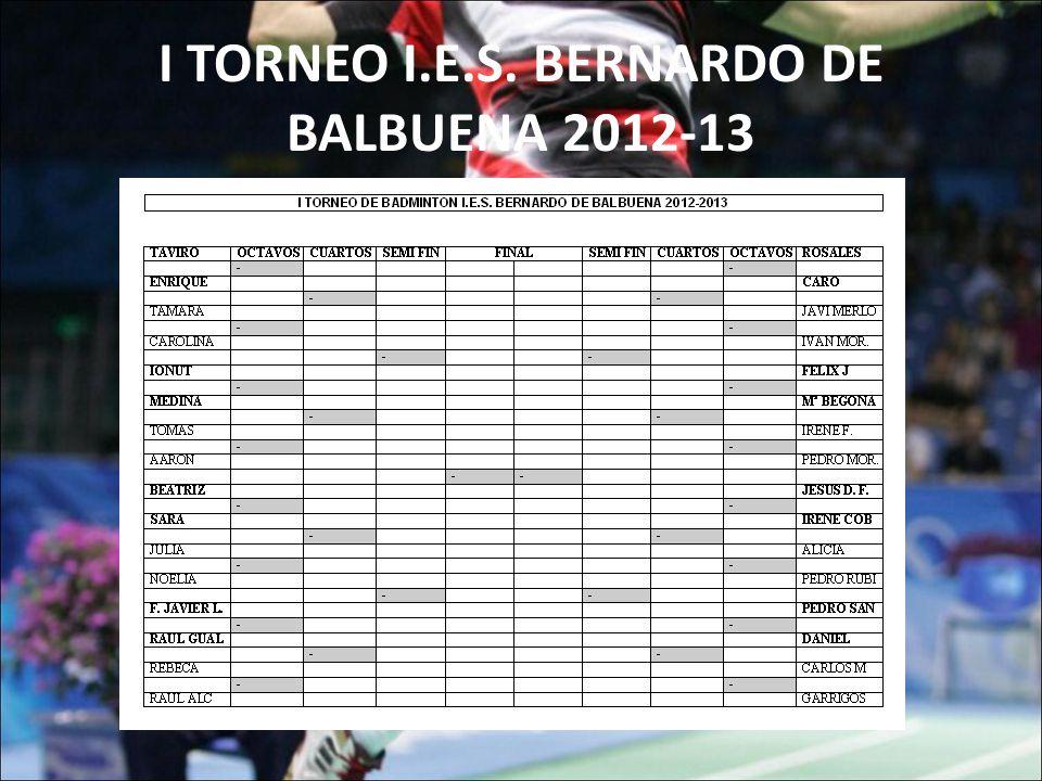 I TORNEO I.E.S. BERNARDO DE BALBUENA 2012-13