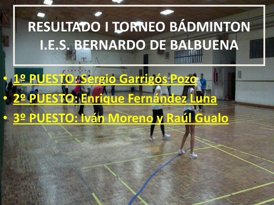 RESULTADO I TORNEO BÁDMINTON I.E.S.