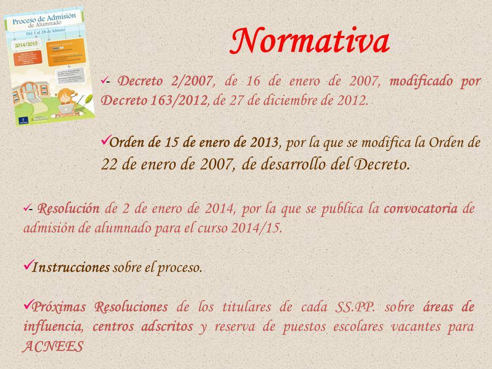 - Decreto 2/2007, de 16 de enero de 2007, modificado por Decreto 163/2012, de 27 de diciembre de 2012.