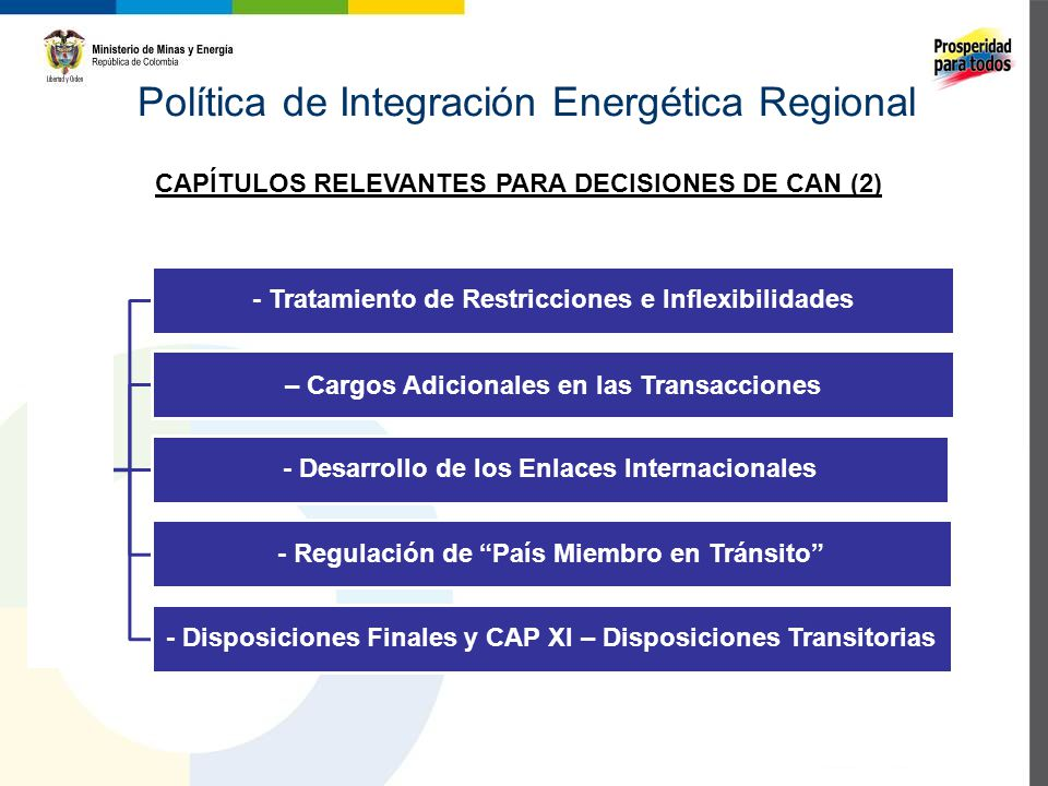 Política de Integración Energética Regional Propuesta de Nueva Decisión - Tratamiento de Restricciones e Inflexibilidades – Cargos Adicionales en las Transacciones - Desarrollo de los Enlaces Internacionales - Regulación de País Miembro en Tránsito - Disposiciones Finales y CAP XI – Disposiciones Transitorias CAPÍTULOS RELEVANTES PARA DECISIONES DE CAN (2)