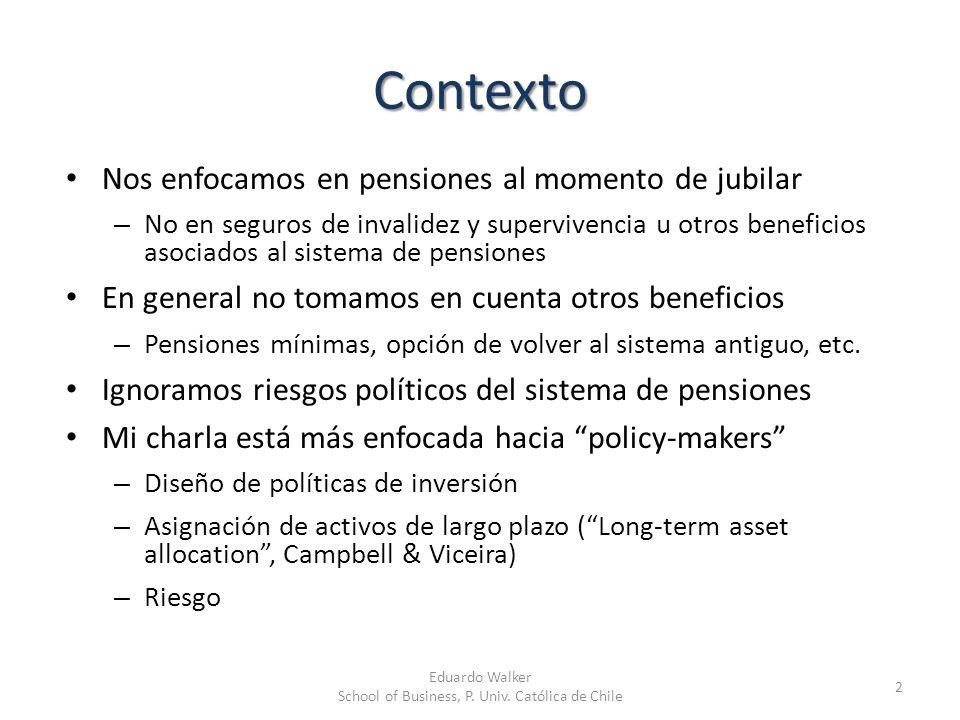 Contexto Nos enfocamos en pensiones al momento de jubilar – No en seguros de invalidez y supervivencia u otros beneficios asociados al sistema de pens