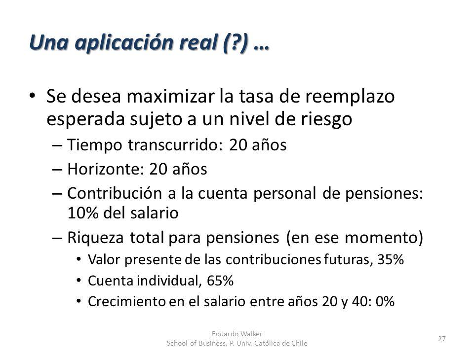 Una aplicación real (?) … 27 Eduardo Walker School of Business, P. Univ. Católica de Chile Se desea maximizar la tasa de reemplazo esperada sujeto a u